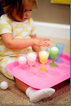 Ping Pong Balls and Cups {26 months}