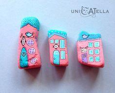 Little houses on a hillside, little houses make of brick-a-brack... rock painted fairy houses