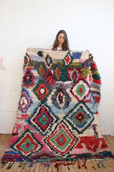 This Boucherouite Rug is handmade in Morocco using virgin wool by super- talented Berber women. This rug is perfect for artsy touch! Hippie Boho, Bohemian Rug, The Little Prince, Moroccan Decor, Cool Rooms, Berber Rug, Decoration, Decorative Accessories, Textiles