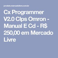 Cx Programmer V2.0 Clps Omron - Manual E Cd - R$ 250,00 em Mercado Livre