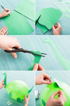 Use construction paper to turn plain balloons into prehistoric pals for you little one's birthday bash. - Reyhane Sonmez - - Use construction paper to turn plain balloons into prehistoric pals for you little one's birthday bash. The Good Dinosaur, Make A Dinosaur, Dinosaur Birthday Party, 4th Birthday Parties, Dinosaur Party Games, Dinasour Birthday, Turtle Birthday, Turtle Party, Kid Parties