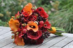 silk autumn wedding flower  | Vibrant fall wedding bouquet made of silk flowers, ... | Wedding Ideas