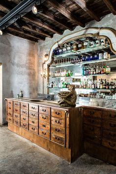Basement bar inspiration 😬Sacripante Gallery And Bar, Rome, Italy - The Cool Hunter Cafe Restaurant, Restaurant Design, Butcher Restaurant, Bar A Vin, Architecture Restaurant, Architecture Art, Italian Bar, Pop Up Bar, Co Working