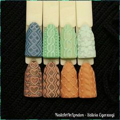 Gelish designs by NailArtInLondon. Knitted nails could be perfect for Autumn/Winter.  Instagram.com/nailartinlondon #gelish #natural #elegant #autumn #winter #winterwarmers #3d  NailArtInLondon.co.uk in London, Greater London