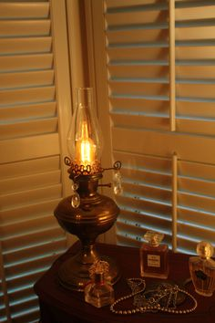 Prism accented antique brass electrified by VintageIlluminations, $120.00
