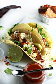 Smoked Pork Belly Tacos with Chipotle-Guajillo Sauce and Grilled Pineapple (Big Green Egg recipe) by Drool-Worthy