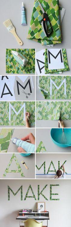 Decorar la pared con tipografía - curbly.com - DIY Typography Wall Art
