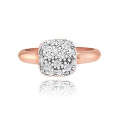 Penelope rose gold pave cushion ring