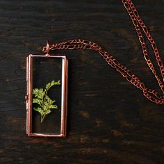 Beautiful pressed fern necklace by Mair Autumn.