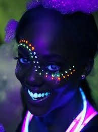 Blacklight Face Paint Ideas by William Boyd Glow Party, Glow In Dark Party, Party Make-up, Neon Painting, Light Painting, Painting Tips, Pintura Facial Neon, Glow Face Paint, Body Paint