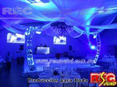 Producción integral para bodas, contamos con audio, video, iluminación, mobiliariario, decoración ademas de dj's, grupos musicales, performance, shows de animación , efectos especiales . www.recsound.com.mx
