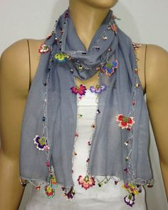 Crocheted LILAC scarf with handmade multi color oya flowers - Violet scarf - Beaded Scarf - Crochet Beaded Scarf - Lavender Scarf Cotton scarf. Crochet Flower Scarf, Crochet Scarves, Crochet Flowers, Hand Crochet, Knit Crochet, Techniques Couture, Crochet Collar, Grey Scarf, Pink Scarves