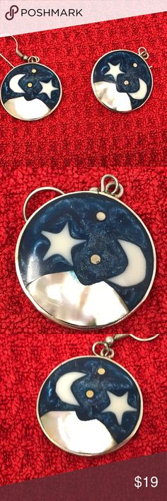 "Moon and Stars Enamel and Sterling Silver Earrings Moon and Stars Enamel and Sterling Silver Earrings. Size: One size. Drop is about 1"", they are about the size of a quarter. Sterling silver with enamel and mother of pearl. Design is a crescent moon and star over a mountain. Stamped with Alpaca Mexico on the back. Handmade, so they are not exactly alike. Backs are hooks. For pierced ears. Unknown Jewelry Earrings"