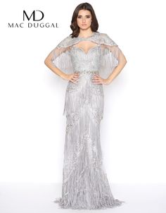 c6392a84b59 Mac Duggal - Embellished Fringed Sheath Evening Gown in Silver. Mac Duggal  Prom Dresses · Couture