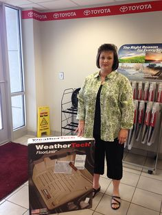 """Thanks for the floor mats! Just love them! First time I ever won anything! So very happy. Thanks again!"" - Donna McClellan picked up the #WeatherTek mats we gave away last week! Congrats, Donna!"