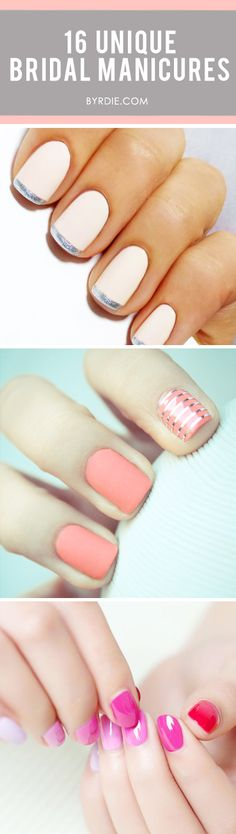 A roundup of the most beautiful manicure ideas for brides. #nails #beauty