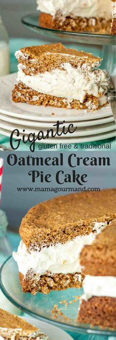 This Gigantic Homemade Little Debbie's Oatmeal Cream Pie Cake recipe is a spot-on copycat version with soft, chewy cookie layers and tons of fluffy white filling sandwiched between. http://www.mamagourmand.com