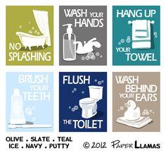 Kids Bathroom Art Prints, Wash Your Hands, Brush Your Teeth, children's bathroom wall art - Pick 3 - Bathroom rules art for the bathroom Kids Bathroom Art, Childrens Bathroom, Bathroom Rules, Bathroom Prints, Bath Sign, Bath Art, Wall Art Decor, Illustration, Art Prints
