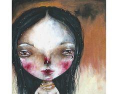 folk art Goddess Original girl painting mixed media art painting on wood canvas 6x6 inches - Nyx