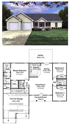 Ranch House Plan 59002 | Total Living Area: 1400 sq. ft., 3 bedrooms & 2 bathrooms.Enjoy the large master suite with a bath (jet tub for her), and a half (shower for him). Large two car garage with separate storage area. Covered front porch and rear patio. Large master suite and walk-in closet. Raised bar in kitchen. #ranchstyle #houseplan