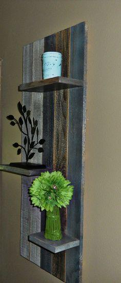 Rustic Barn Board Hanging Shelf (put over electrical box)! Diy Hanging Shelves, Pallet Shelves, Rustic Shelves, Barn Wood Shelves, Pallet Crafts, Diy Pallet Projects, Wood Crafts, Design Projects, Recycled Pallets