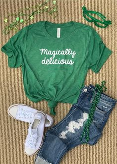 St patrick s day shirt women st pattys day shirt for women magically delicious shirt drinki Diy St Patricks Day Shirt, St. Patricks Day, St Patrick Day Shirts, St Pattys Day Outfit, St Patrick's Day Outfit, Outfit Of The Day, Outfit Des Tages, Simple Shirts, Saint Patrick's Day