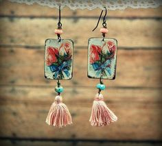 Earrings made from pieces of vintage tins