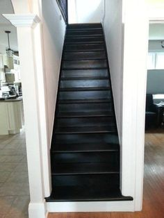 gray stairs with white risers - Google Search White Stair Risers, Painted Stair Risers, Painted Staircases, Spiral Staircases, Modern Staircase, Redo Stairs, Tile Stairs, Staircase Makeover, Black Painted Stairs