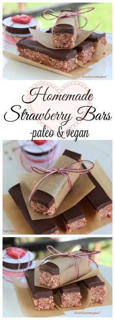 A Paleo & Vegan Friendly Strawberry Bar.  The perfect homemade Valentine's Gift.