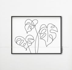 Monstera leaves line art, Botanic print, Abstract plants wall decor, Minimalist art, One line drawi Black And White Posters, Black And White Wall Art, Black And White Abstract, Minimal Art, Impressions Botaniques, Art Minimaliste, Plant Wall Decor, Single Line Drawing, Plant Drawing