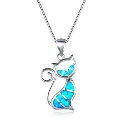 Woman Fashion Silver Jewelry blue fire opal Charme Collier Pendentif Chaîne Hot