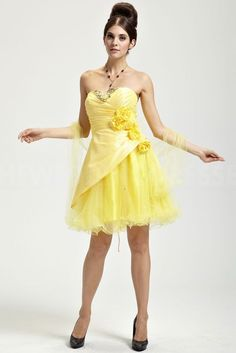 yellow Satin Sweetheart cocktail Dresses - Order Link: http://www.theweddingdresses.com/yellow-satin-sweetheart-cocktail-dresses-twdn4207.html - Embellishments: Beading; Length: Floor Length; Fabric: Satin; Waist: Natural - Price: 177.3526USD