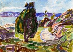 Edvard Munch - Junipers by the Sea, 1914/15