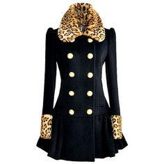 Choies Navy Blue Leopard Lapel and Cuff Double Breasted Swing Coat