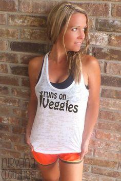 Runs On Veggies Running Tank. Vegan Vegetarian workout shirt Marathon Training