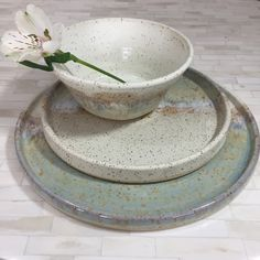 Made to Order, 3 Piece Place Setting, Pottery Dinnerware, Place Setting, Dinner Plates and Bowls, Pottery, Dinnerware, Handmade Pottery by ShawnaPiercePottery on Etsy