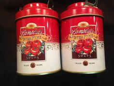 PAIR OF CAMPBELL SOUP TIN SALT AND PEPPER SHAKERS