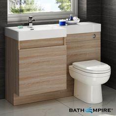 Light Oak Combined Vanity Unit | Toilet and Basin | 1206x880mm - BathEmpire