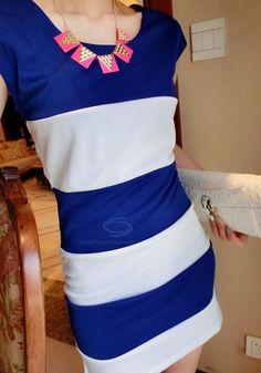Stylish Fitting Scoop Neck Color Block Splicing Women's Dresses, BLUE, ONE SIZE in Summer Dresses | DressLily.com