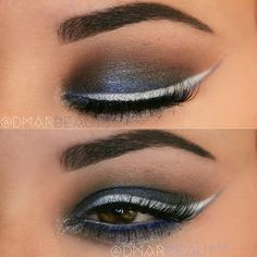 Steel blue backwards eye makeup look