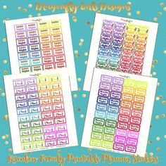 NEW!!!! DIY Rainbow Family Printable Planner Stickers Kit 160 Stickers 4 page pdf and 4 jpeg Erin Condren Planner Kikkik Filofax