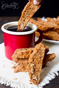 Apple Biscotti - with rolled oats, apples and walnuts. Simply dunk them in your morning coffee or tea for a delightful breakfast.