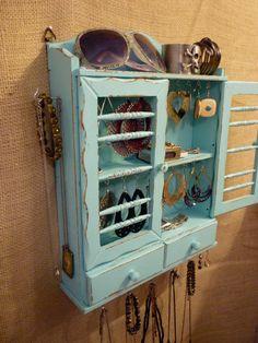 Upcycled Jewelry Organizing Display Aqua Cabinet by KelkoDesign, $75.00