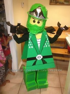 Coolest Homemade Green Ninjago Halloween Costume for a Boy