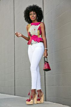 Style Pantry | Printed Peplum Blouse + White Ankle Length Jeans