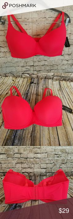 NWT Youmita Underwire Full Coverage Bra New with tags, no defects Size 38DDD Can be worn regular or criss-cross (racerback) Beautiful red/coral color Youmita  Intimates & Sleepwear Bras
