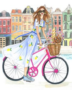 Ride into the weekend 😍😍 Can you guess where she is? Tap this photo to see more travel inspired illustrations for your wall😊 . Foto Fashion, Fashion Art, Spring Fashion, Fashion Design, Bike Illustration, Copic Art, Bicycle Art, Watercolor Fashion, Illustrators On Instagram