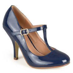 Journee Collection Lessah Women's T-Strap High Heels, Girl's, Size: 7.5, Blue (Navy)