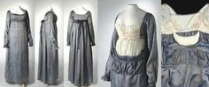 One piece dress in silver and blue shot silk with dark blue flower pattern.  This regency style blue and silver shot silk dress dates from about 1810-1813. http://www.australiandressregister.org/