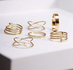 Six Piece Stackable Knuckle Midi Rings